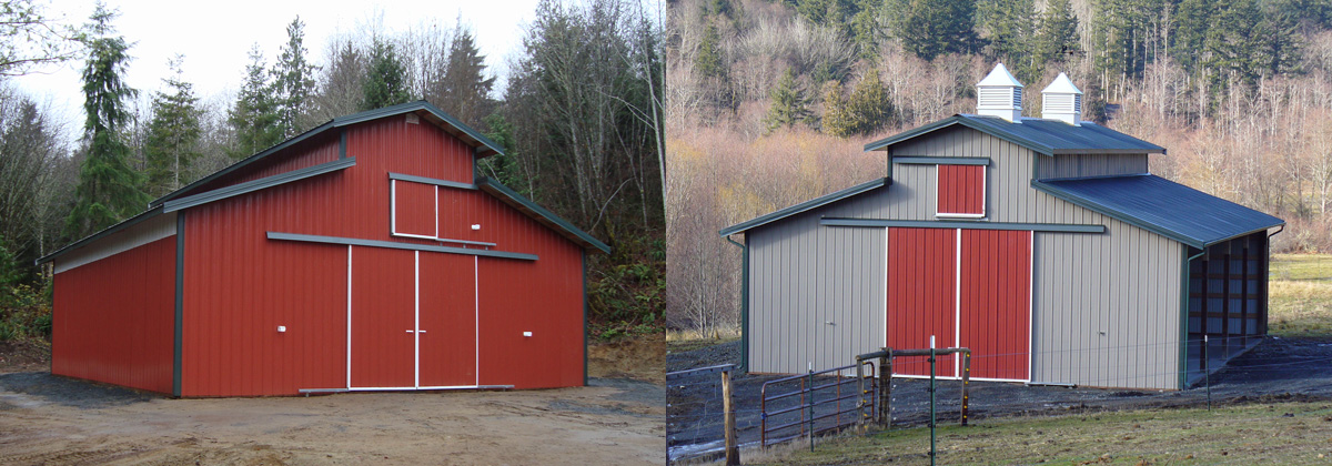 Two 36-by-36-foot pole barns